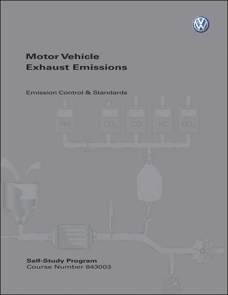 Volkswagen Motor Vehicle Exhaust Emissions Emission Control & Standards Technical Service Training Self-Study Program Front Cover