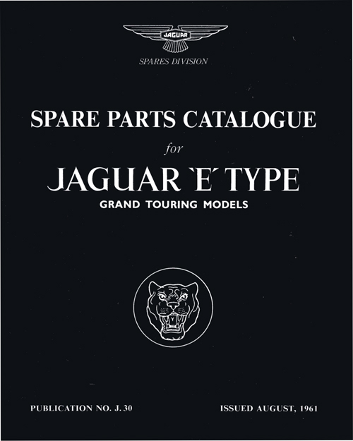 Jaguar E-type 3.8 Series 1 Spare Parts Catalogue: 1961-1964 front cover