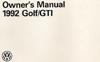 Volkswagen Golf/GTI Owner's Manual: 1992