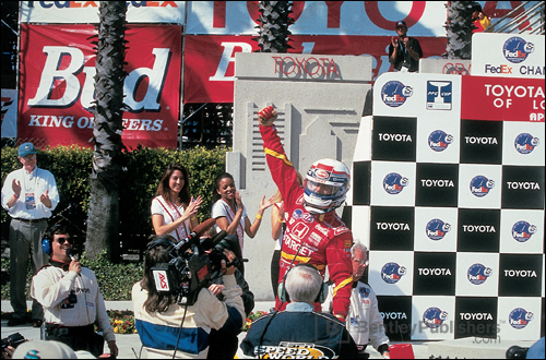 Celebrating a triumphant victory at Long Beach in 1998—the most spectacular race of my career.