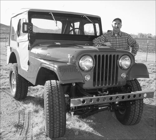 Author Moses Ludel and his Jeep.