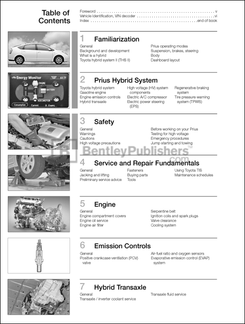 table of contents toyota prius repair and maintenance manual 2004 rh bentleypublishers com Toyota Tis Website Toyota Tis Website