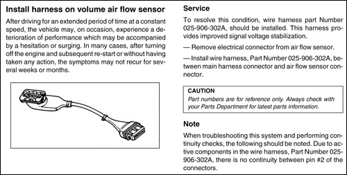 Volkswagen Vanagon Official Factory Repair Manual: 1980-1991: Volume air flow sensor harness adaptor used for solving driveability complaints on Digifant-equipped Vanagon (known as